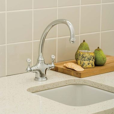 Perrin & Rowe Estruscan Twin Lever Mono Sink Mixer with Swivel Spout - Pewter
